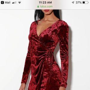 Lulu's Burgundy Velvet Wrap Dress